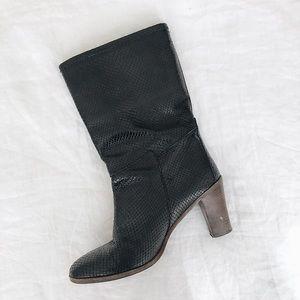 APC Snake-Embossed Block Heel Boots
